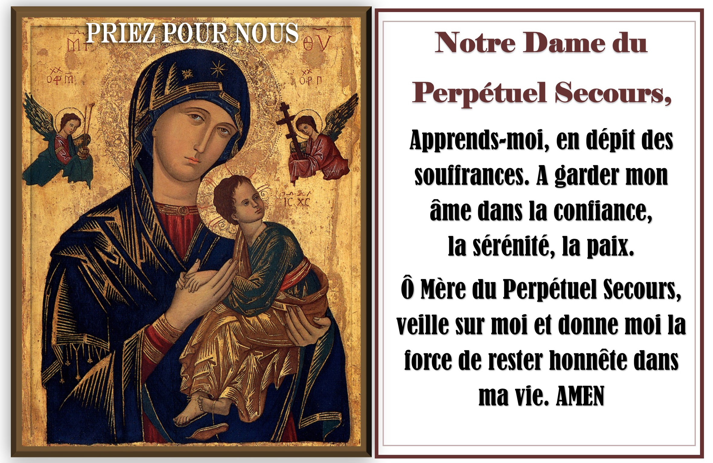 sticker with french prayer - our lady of perpetual help - b - maison