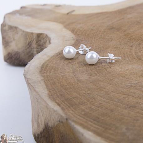 Boucles d'oreilles Perles Blanches - Argent 925