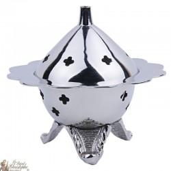 Encensoir sculpté fleur - métal couleur argenté