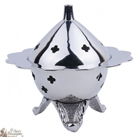 Censer carved flower - silver color metal