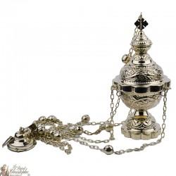 Encensoir sculpté avec clochettes - 25 cm