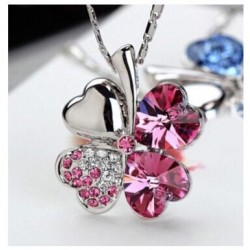 Necklace clover pink crystal 2.1 x 2.6 cm