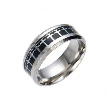 RING WITH CROSS COLOR BLACK SILVER
