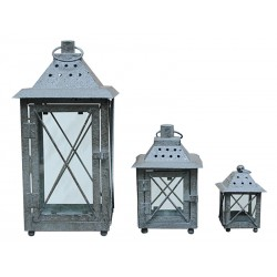 Lanterne fer forgé gris - Set de 3 pièces