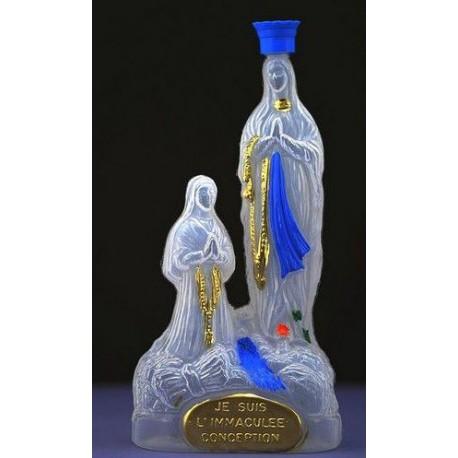 Bouteille à eau bénite statue Apparition de Lourdes - 20 cm