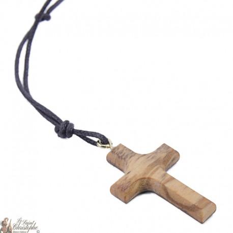 Collier Cordon avec Croix en bois d'olivier - 2 x 3 cm