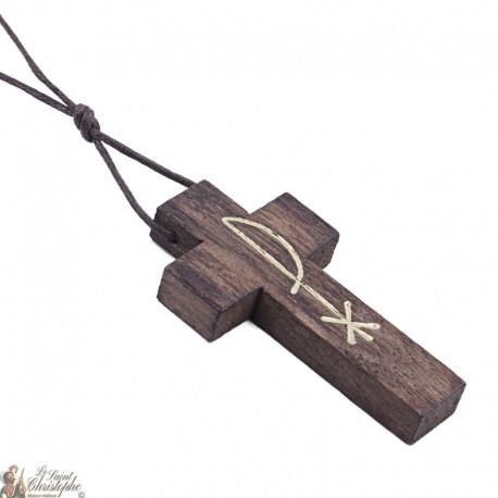 Collier Cordon avec Croix en bois brun - Pax