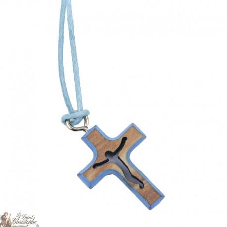 Collier Cordon avec Croix en bois - Bleu