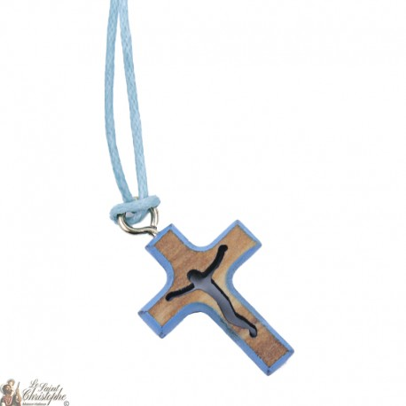 Cord Necklace with Wooden Cross - Blue