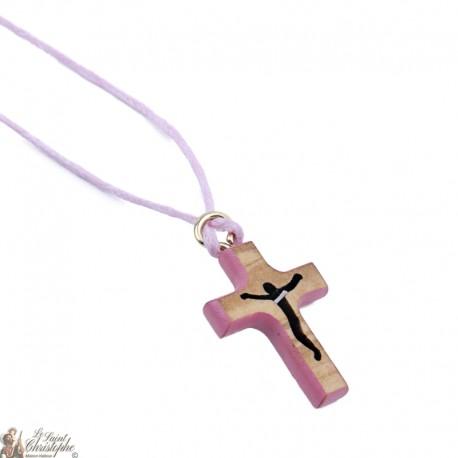 Collier Cordon avec Croix en bois - rose