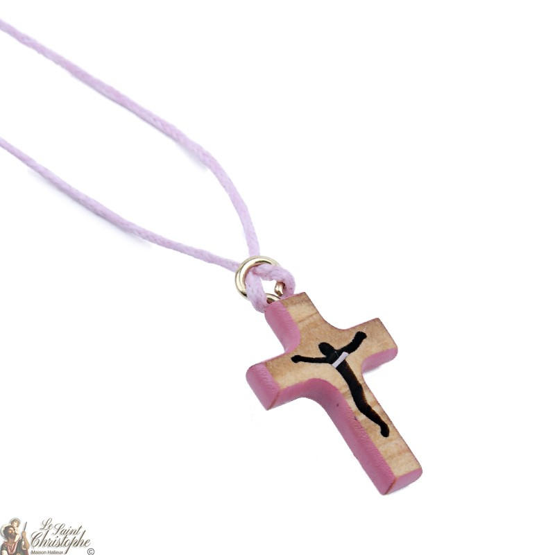 Cord Necklace With Wooden Cross Pink Maison Halleux Pro