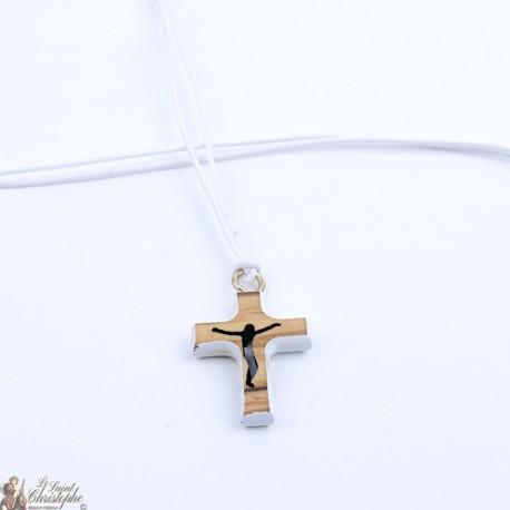 Collier Cordon avec Croix en bois - blanc