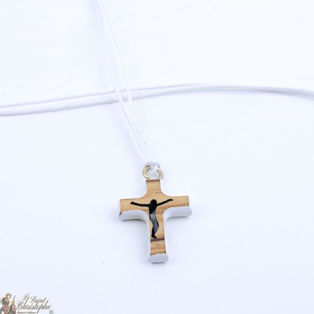 Cord Necklace with Wooden Cross - white