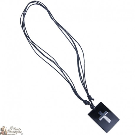 Necklace cord - black plate with cross