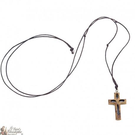Cord Necklace with Olive Wood Cross