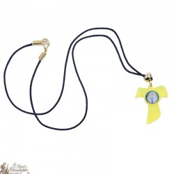 Necklace with Tau sign in yellow plexi and image of the Virgin of Banneux