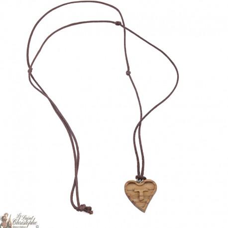 Collier cordon - Cœur en bois avec signe Tau