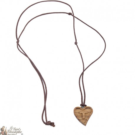 Cord Necklace - Wood Heart with Tau Sign