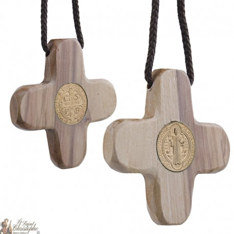 Collier Cordon avec Croix de Saint Benoit en bois d'olivier