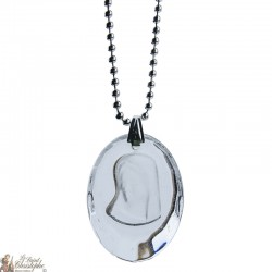 Pendant of the Virgin in transparent glass