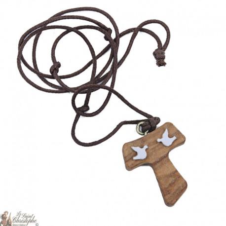 Collier Cordon et pendentif Tau en bois avec colombes blanches