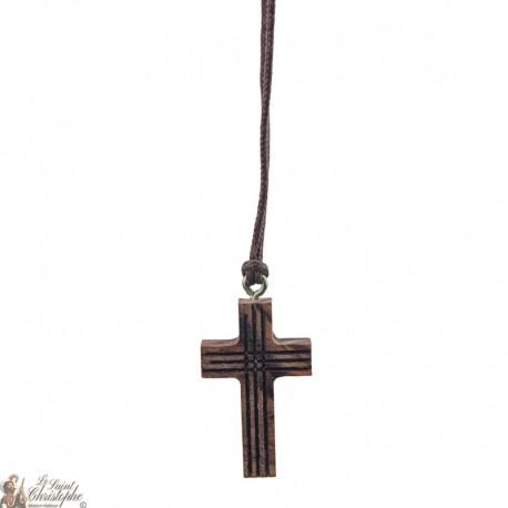 Collier Cordon et croix en bois lignée