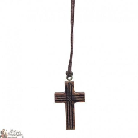 Cord Necklace with Wooden striped cross