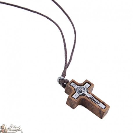 Cordon necklace with small cross of Saint Benoit in olive wood