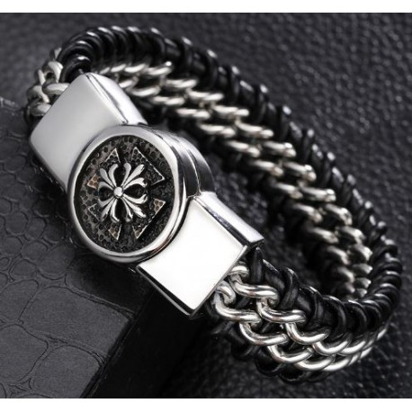 Leather strap and stainless steel chain with cross
