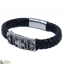 Leather and stainless steel bracelet with cross