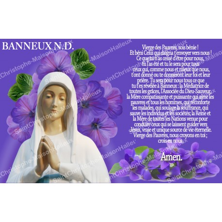sticker with french  prayer - Our Lady from Banneux - 1