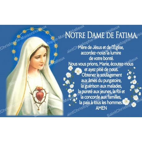 sticker with french  prayer - Our Lady of Fatima