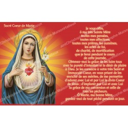 sticker with french  prayer - Sacred Heart of Mary