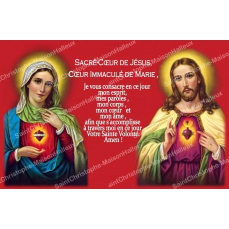 Autocollant bougie de neuvaine avec prière français - Sacré Coeur de Marie