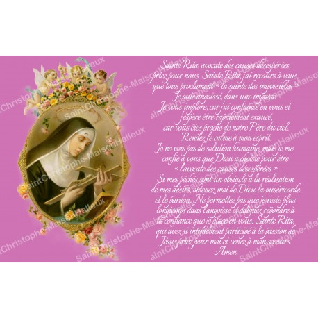 sticker with french  prayer - Saint Rita