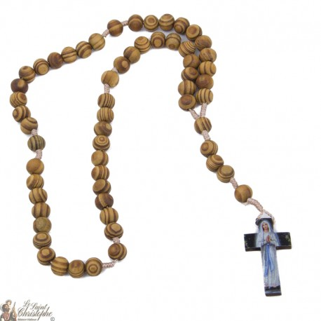 Chapelet en bois d'olivier Vierge de Lourdes