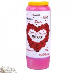 Bougies Neuvaines roses au parfum de Roses à Saint Valentin - prière français